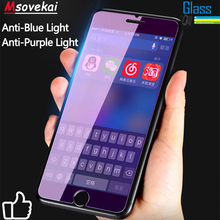 Anti Blue Purple Light Tempered Glass For iPhone 8 Plus For iPhone Xs Max XR 7 6S Plus 5S SE Glass Film 2.5D 9H Screen Protector nillkin amazing pe 9h anti blue ray eyes care anti burst tempered glass screen film for iphone 6s plus 6 plus 5 5 inch