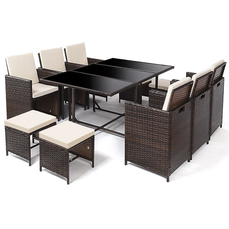 11 Pcs/Set Modern Outdoor Patio Dining Rattan Wicker Table And Chair Garden Furniture Set HW57029