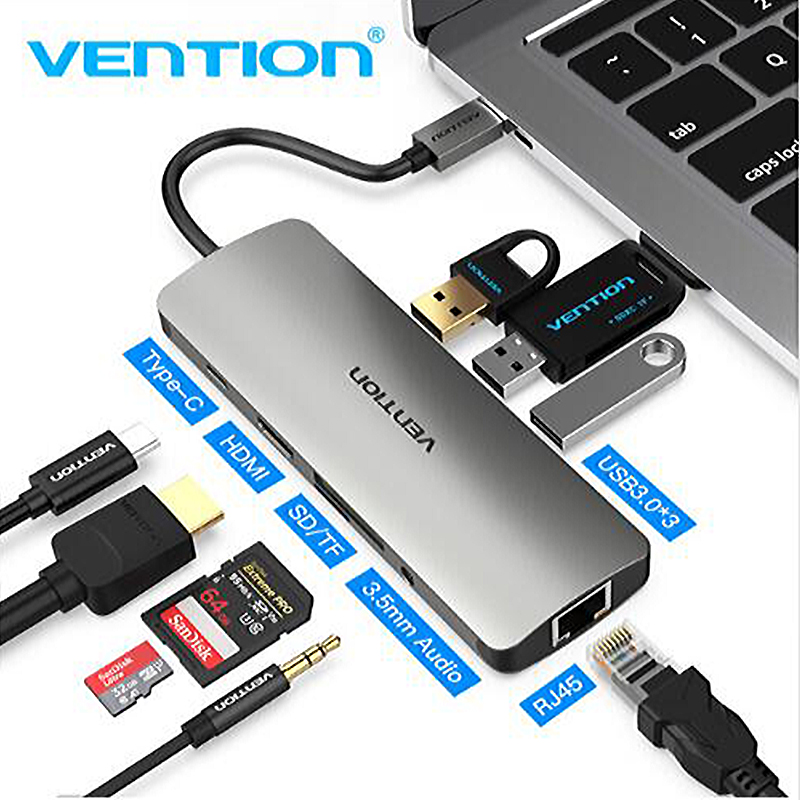 Vention Thunderbolt 9 in 1 USB Hub Type C to HDMI USB3 0 RJ45 Adapter for