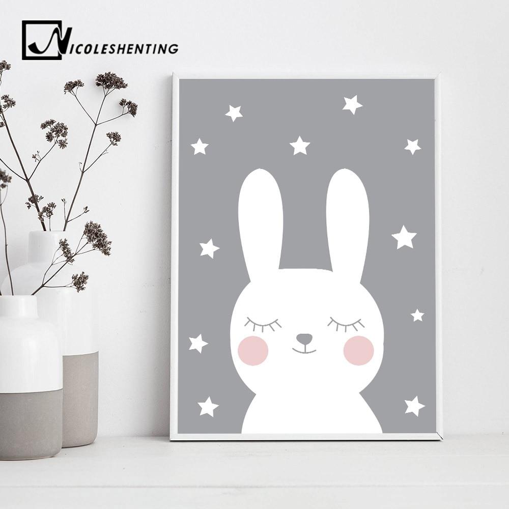 Baby Nursery Wall Art Canvas Poster Print Cartoon Rabbit Bear Painting Nordic Kids Decoration Picture Children Bedroom Decor