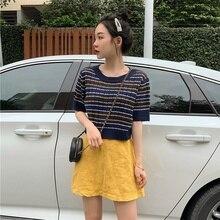 Womens T-shirt Round Neck Striped Thin Knitting T Shirt Women Crop Top Blusas Summer 2019