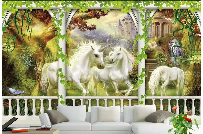 Custom photo designs 3d wall murals wallpaper Non-woven Europe god beast unicorn background painting wallpapers for living room 3d ceiling murals wallpaper custom photo non woven angel bible of europe style painting 3d wall mural wallpaper for living room