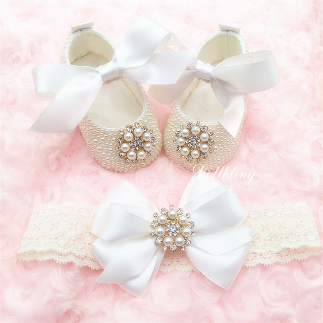 100days Diamond Bling Pacifier match Flower baby girl crib shoes Christening baptism ivory elegant beautiful first walkers