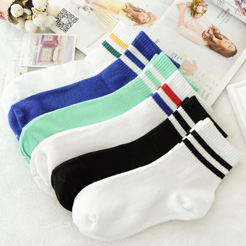 2018NEW Classic Women Girls Two Stripes Cotton Socks Retro Old School Student Hiphop Skate Fashion White Harajuku Free Ship #W