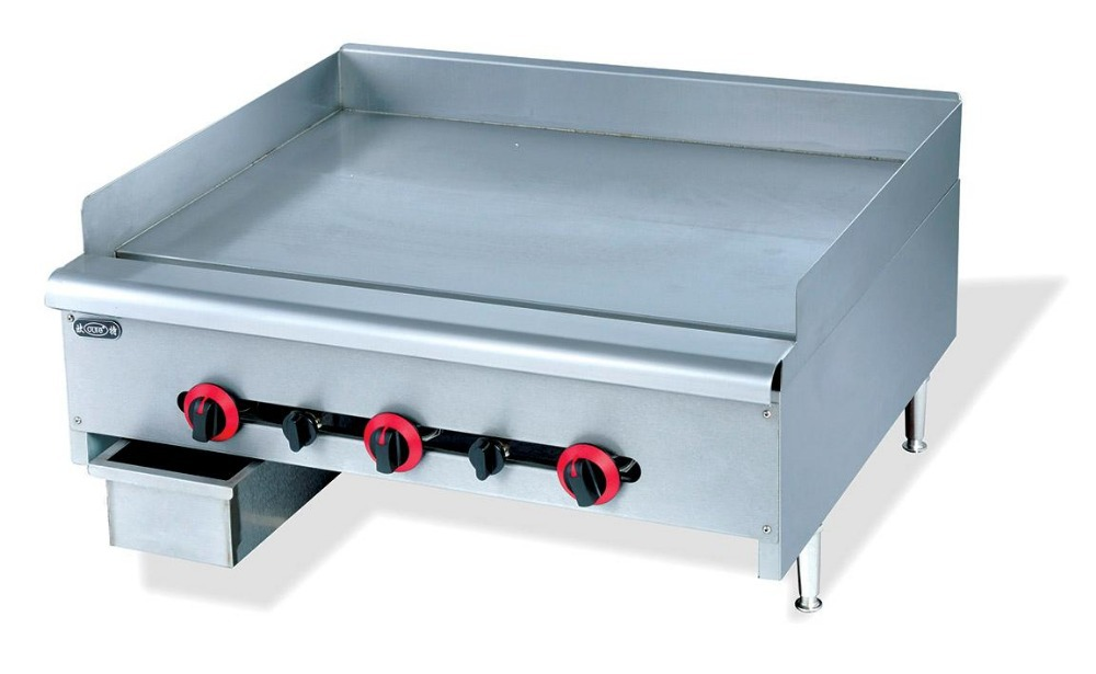 Super quality stainless steel commerial tabletop flat gas griddle kitchen gas frying equipment factory wholesale