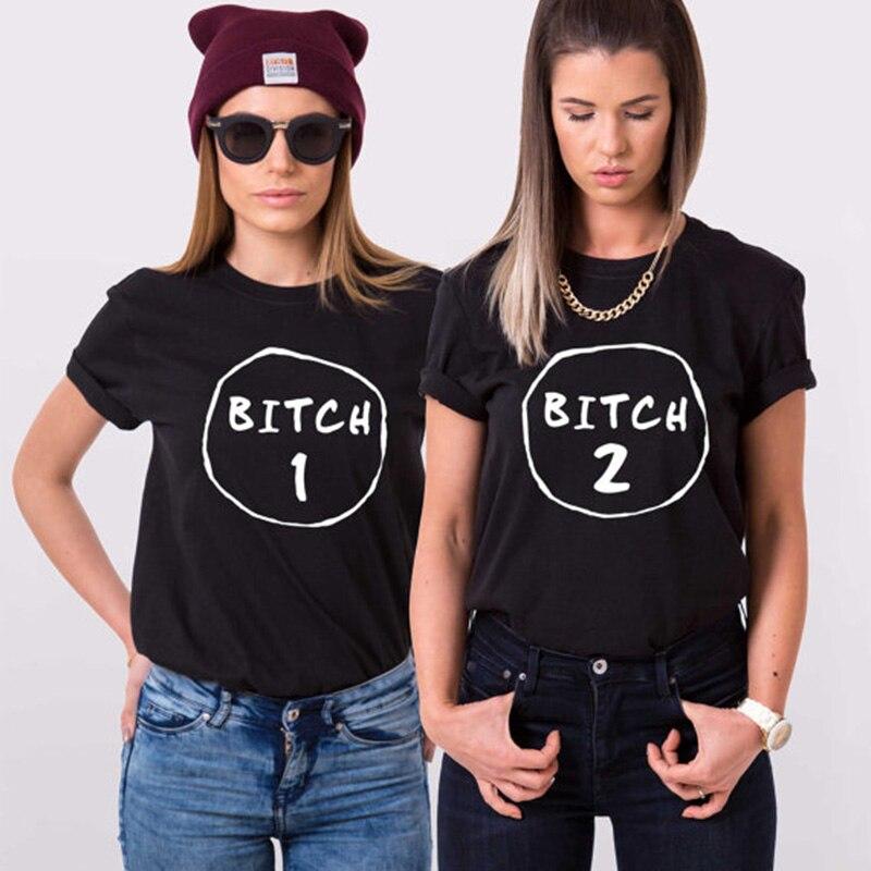 EnjoytheSpirit Funny Women Tops Best Friend Short Sleeve Loose Tshirt Cotton T-shirt Bitch 1 Bitch 2 Summer Fashoin Crewneck camiseta para quemar grasa