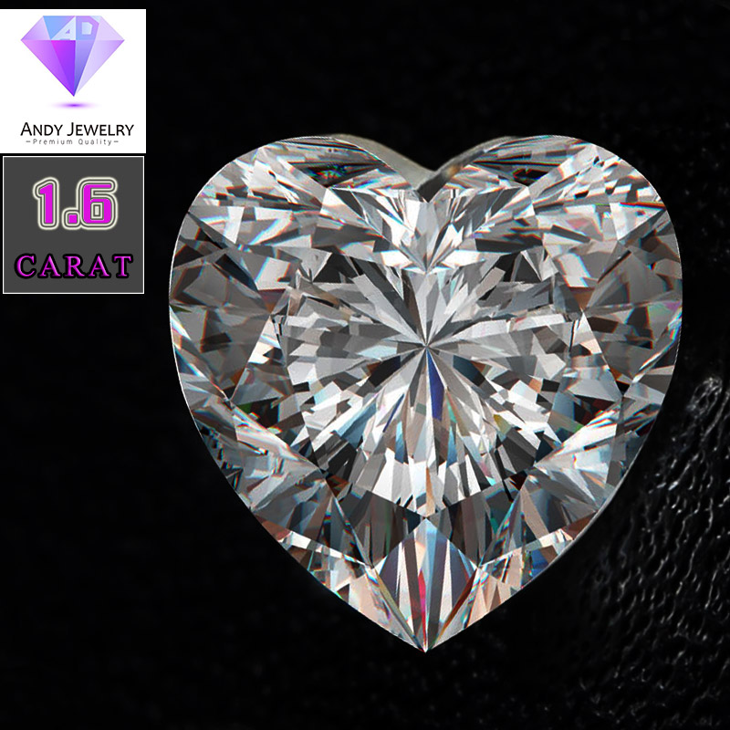 heart shaped moissanite stone Size 8 8mm 1 6 carat diamond Excellent white D color Purity
