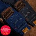 Tamanho grande Novo Design Mens Estiramento Inverno Engrossar Calça Jeans de Lã Quente forro Denim Jeans Famosa Marca Plus Size 28 A 42 44 46