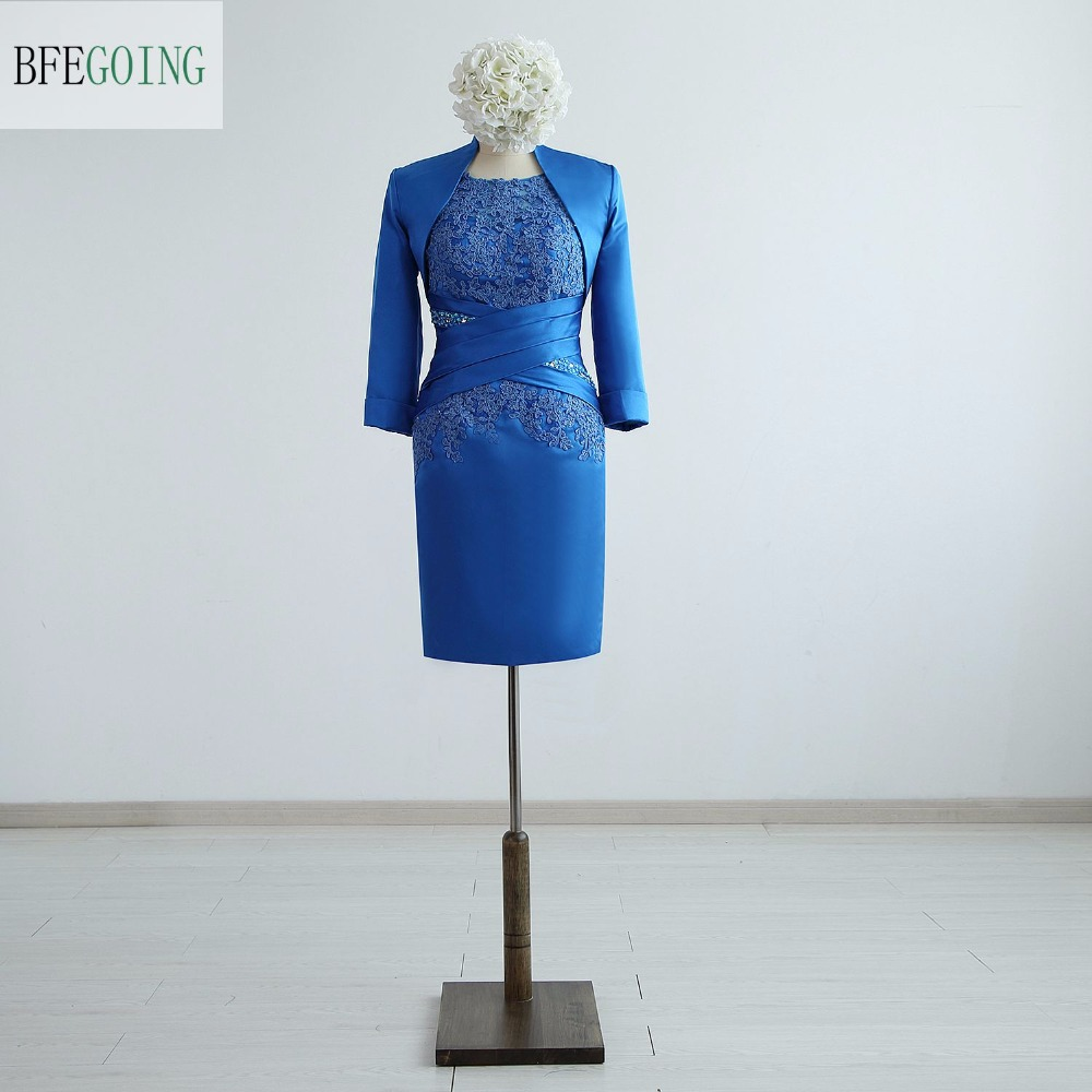 Blue Satin  Appliques Lace Beading Knee-Length  Sheath  Mother Of The Bride Dresses With A  Jacket