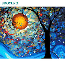 SDOYUNO Painting By Numbers Tree Nature Digital Painting 60X75cm DIY Framed paint by number kits On Canvas Home Decor Wall Art 0329zc066 home wall furniture decorations diy number oil painting children graffiti sandy beach coconut tree painting by numbers