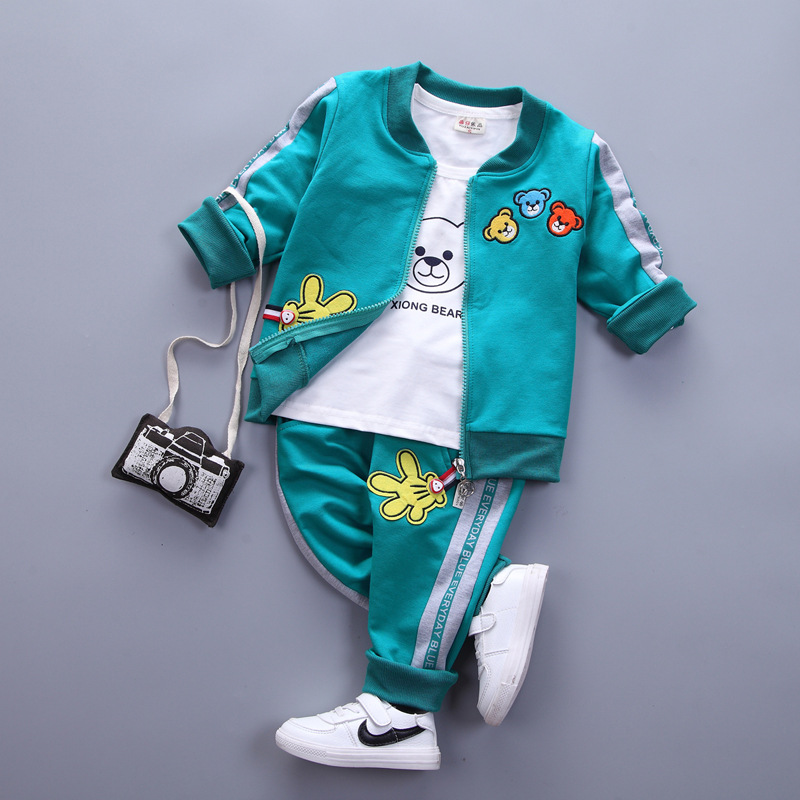 3 PSC baby boys sets newborn spring autumn cartoon bear Long sleeve coat+T-shirt+pants infant sport suit girls clothing sets