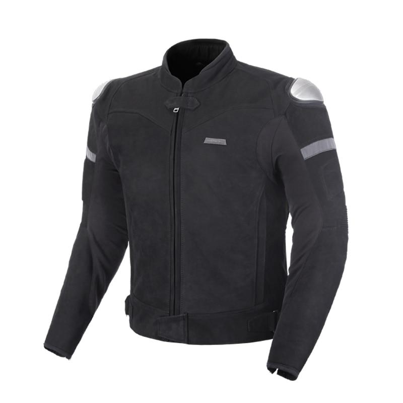 Benkia Autumn Winter Leather Motorcycle Jacket Men Black Motocross Racing Leather Jacket Off Road Motorbike Riding