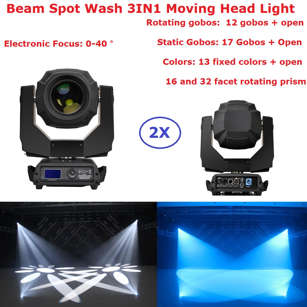 Flightcase 3IN1 350W 17R 16/32 Facet Rotating Prism Moving Head Lights Spot Beam Wash 3IN1 Professional Stage Lighting Equipment
