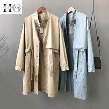 HEE GRAND Loose Khaki Trench Coat Women 2019 Autumn Korean Long Sleeve Stand Collar Overcoat BF Windbreaker Belted Coats WWF912 недорого