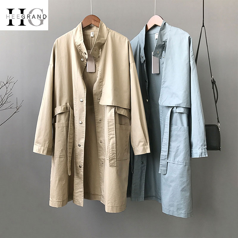 HEE GRAND Loose Khaki   Trench   Coat Women 2018 Autumn Korean Long Sleeve Stand Collar Overcoat BF Windbreaker Belted Coats WWF912