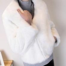 FREE SHIPPING !! Button V-neck Fur Jackets Overcoat Short Coat JKP962