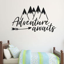 Mountains Wall Decal Adventure Awaits Vinyl Sticker Kids Playroom Decoration Arrow Mural Boys Bedroom Wallpaper AY1233