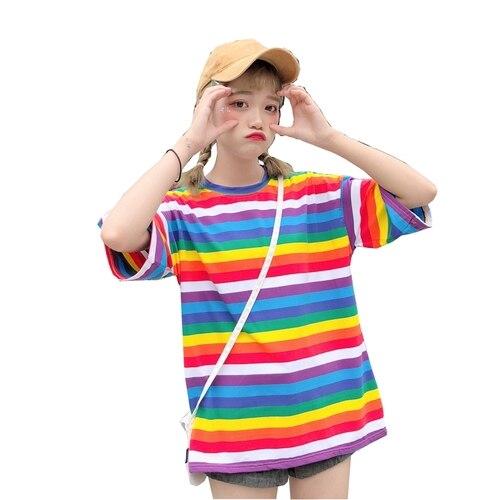 Summer kawaii Womens rainbow Tops Korean ulzzang loose wild striped short sleeve Harajuku casual plus size T-shirt feminina