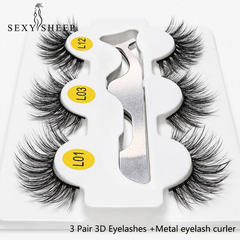 3 Pairs 3D False Eyelashes 3 Styles Eyelashes With Tweezer Full Soft EyeLash Extensions 100% Hand Made False Lashes Eye Makeup