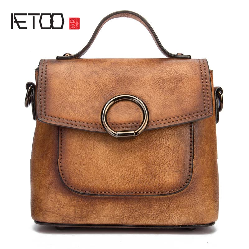 AETOO 2018 spring and summer new retro original high-grade solid color cowhide multi-color diagonal portable handbag women flap stylish women s solid color pleated culotte