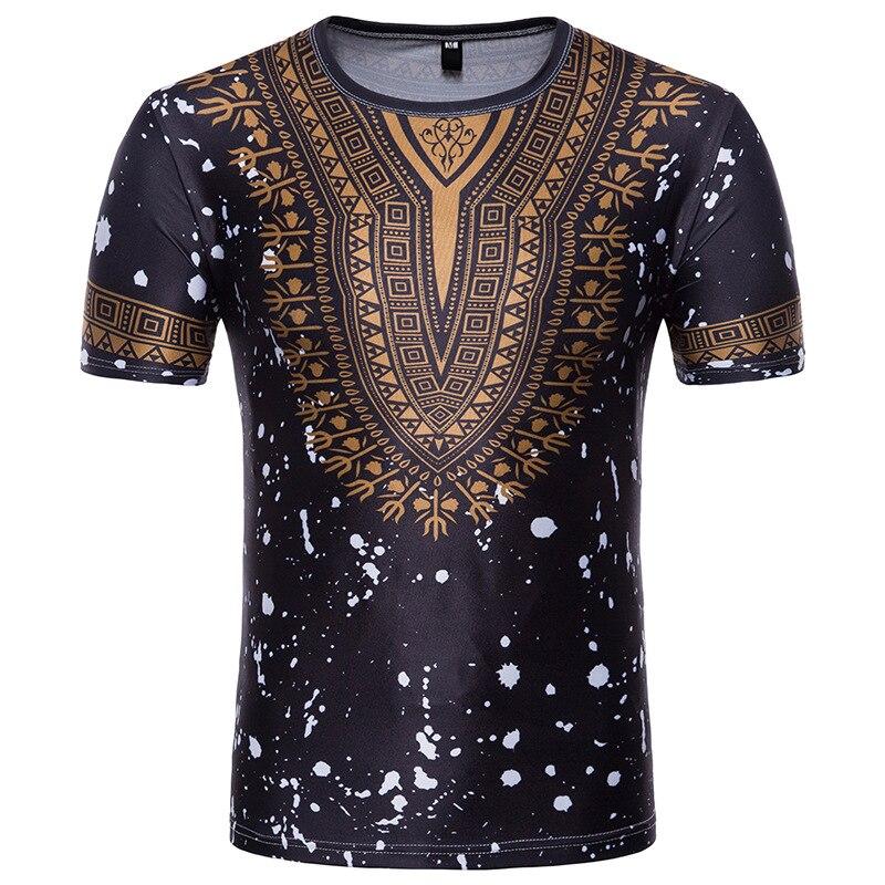 Men Short Sleeve T-shirt Men African Clothes 2019 Fashion Splash Ink African Dashiki Print Dress Shirt Streetwear Tops Tees XXL