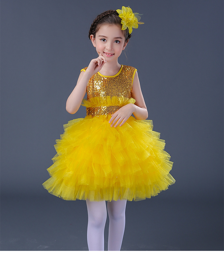Yellow Blue Kids Party Wear Clothes for Girls Fluffy Ball Gown Organza Wedding Dress Sequin Purple Cocktail Dresses for Girls chic organza bowknot cocktail hat page 5
