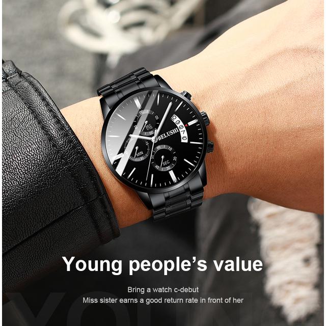 BELUSHI Fashion Men's Quartz Watch Chronograph Sport Men Watches Top Brand Luxury Full Steel Waterproof Clock Male Wristwatch