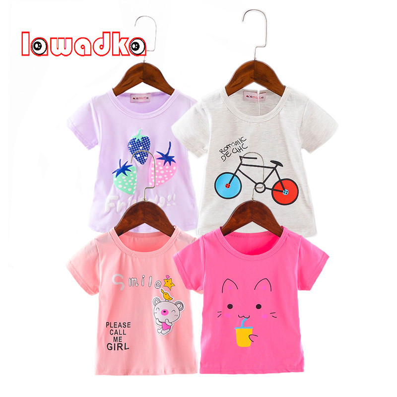Lawadka Cotton Girls Summer Tops Cartoon Fashion Baby Girl Shirts Toddler Baby T Shirt Sport Casual Baby Tees 1st Birthday Boy