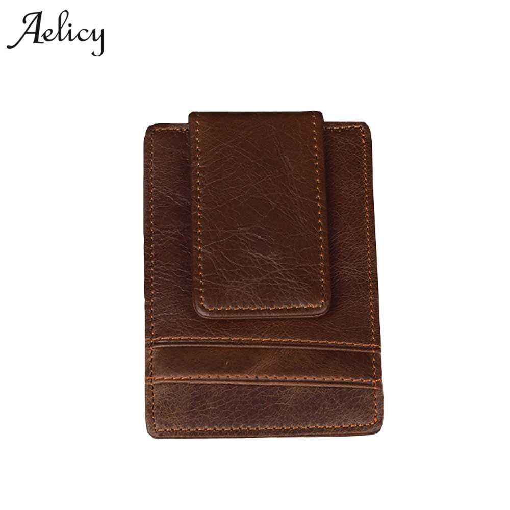 Aelicy Mens Leather Wallets Brand Vintage Wallet Men Business Card Holder portefeuille homme Multi-functional Coin Purse Small