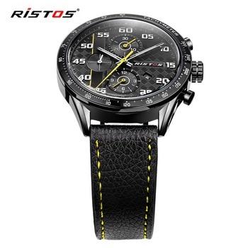 a9d8ce7af743 RISTOS casuales de la marca de lujo de cuero genuino de calidad superior Reloj  Masculino Reloj de fecha calendario impermeable ejército Relojes