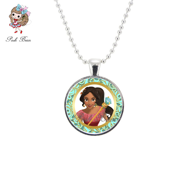 Elena Of Avalor Figures Necklace Princess Ball Chain Glass Cabochon Pendant For Birthday Gifts Girl Jewelry DIY Party Favors 1pc