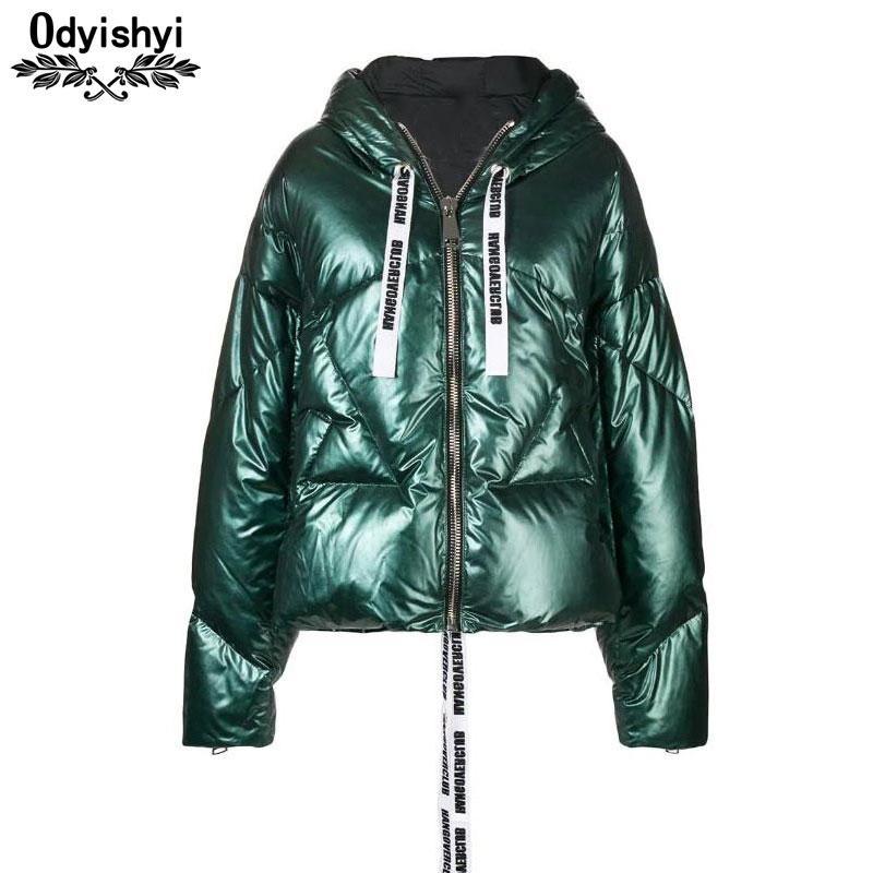 Winter Jacket Plus size Women 2019 Hooded Parka Fashion Bright Down Jacket Thicken Cotton Coat Female