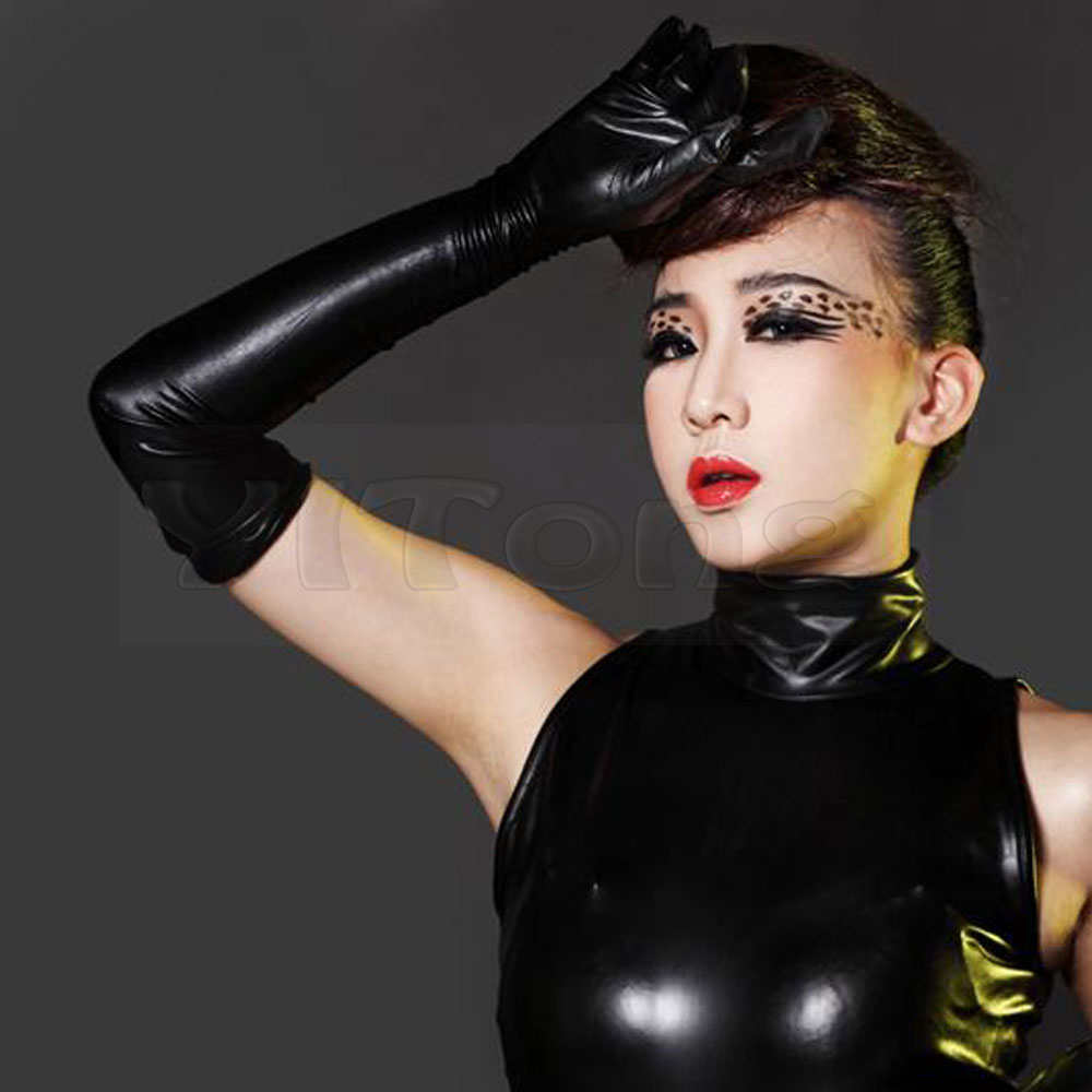 Black vinyl gloves long - Hot Sexy Long Synthetic Latex Gloves Women Glove Punk Gloves Sexy Hip Pop Jazz Outfit