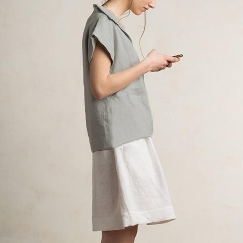 Celmia Women Vintage Linen Tops Plus Size Blouses 19 Summer V Neck Short Sleeve Shirts Casual Tunic Female Blusas Femininas 7