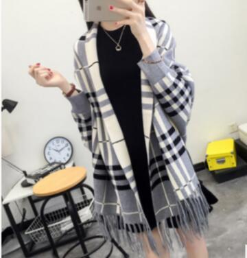 SC2 большой шарф Зимний вязаный пончо женский однотонный дизайнерский плащ женский длинный рукав летучая мышь пальто винтажная шаль - Цвет: Plaid Grey
