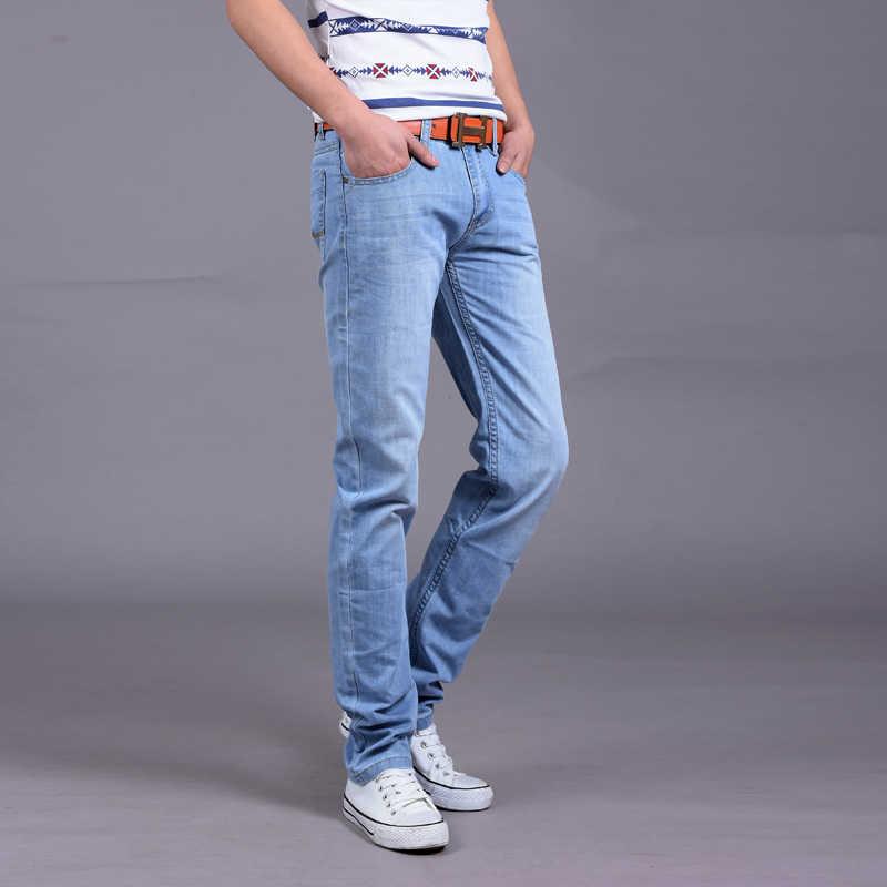 a2f6e64afdb ... 2018 мужские джинсы легкие тонкие модные брендовые джинсы Большие  продажи весна лето джинсы модные тонкие синие ...