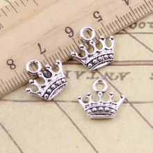 20pcs Charms crown 13x14mm Tibetan Silver Plated Pendants Antique Jewelry Making DIY Handmade Craft(China)