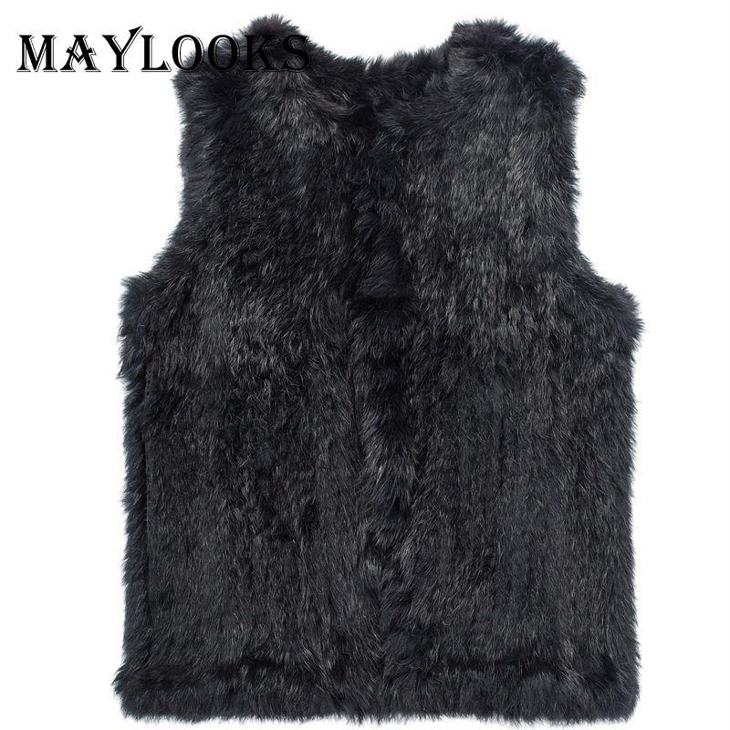 Mink Fur Coat Real 2018 nový pletený pletený ručně králík kožešinová vesta bez rukávů oděv vesta 2 barvy velkoobchodní Cs83