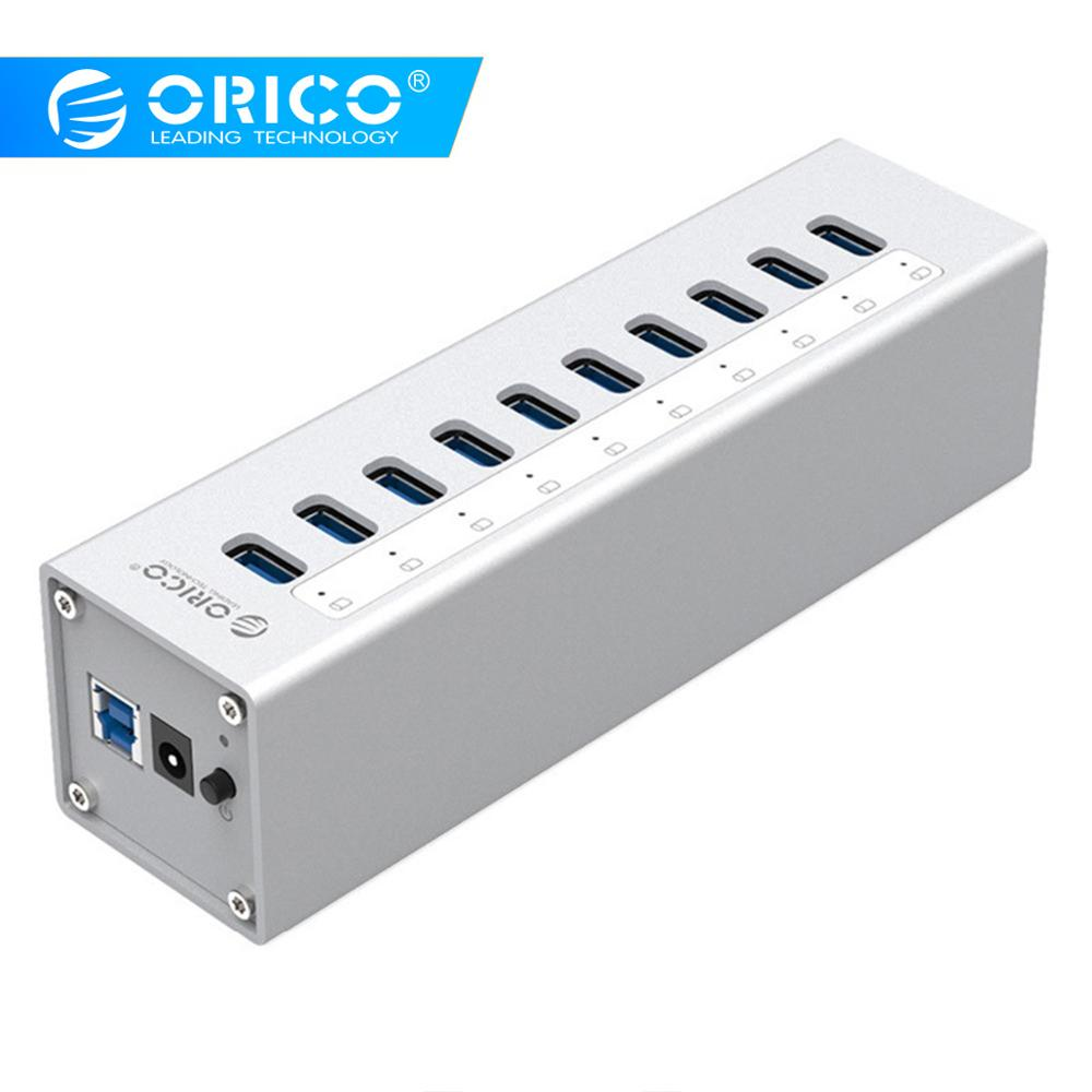 ORICO Aluminum 10 Ports USB3 0 HUB High Speed 5Gbps Splitter with 12V Power Adapter and