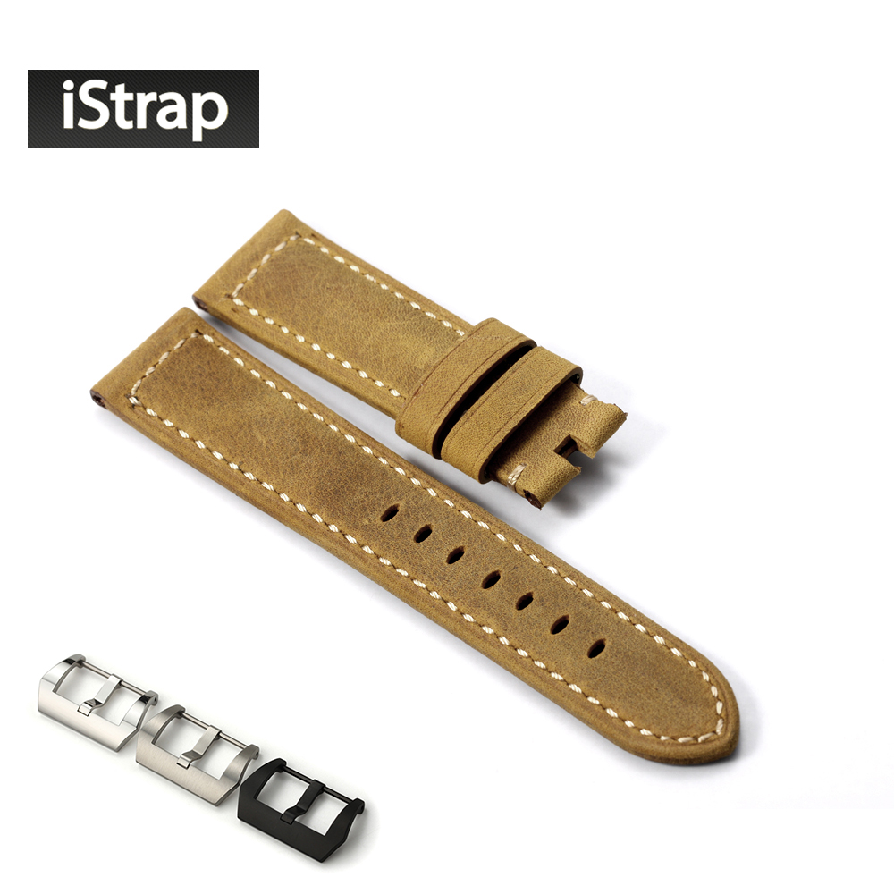 iStrap 22mm Watchband Belt Assolutamente Leather Replacement Watch Strap With tang Buckle For Panerai WatchBand For PAM d 32 fashion purple red fish skin leather watch strap 24 22mm watchband with buckle