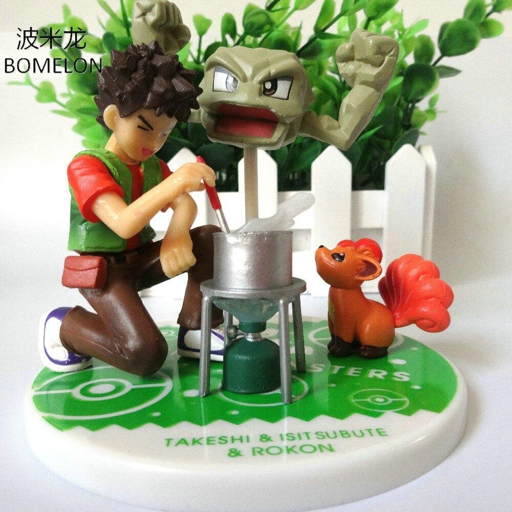 Brock+Geodude+Vulpix Action Figure Sets Pocket Monster Toys Anime Figures Vinyl Doll Kids Toys Boys Birthday Christmas Gift