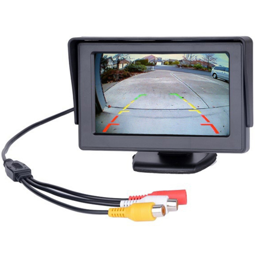 4.3 Inch TFT LCD Display Car Monitor Car Reverse Parking Monitor Screen with 2 Video Input for Rear View Backup Camera DVD VCR