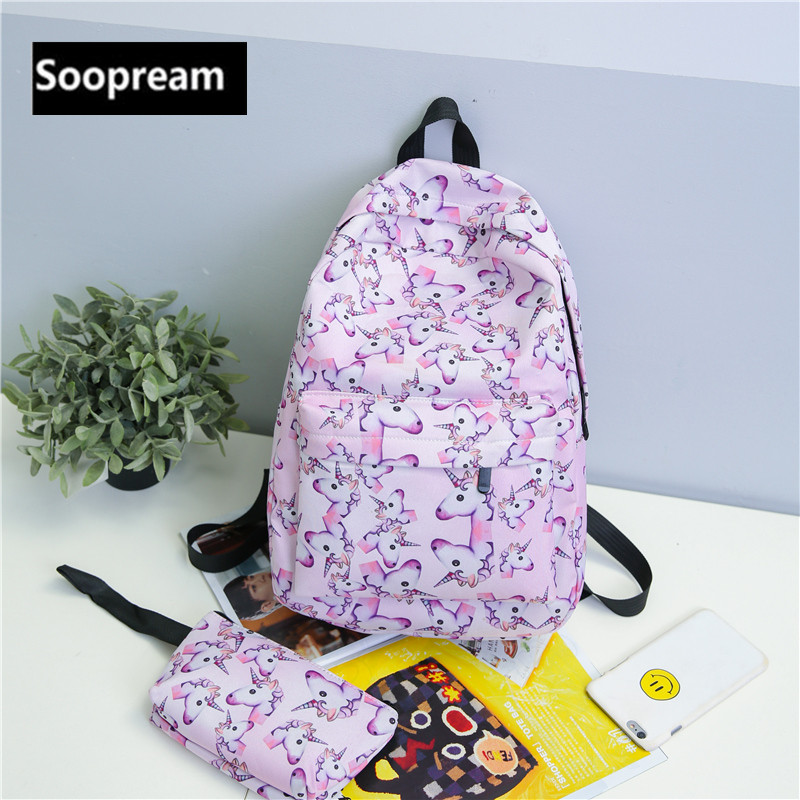 2Pcs/set Unicorn Backpack 3D animal Printing BackPack Travel Softback school Bag Mochila School Backpack For Girls Bagpack Set
