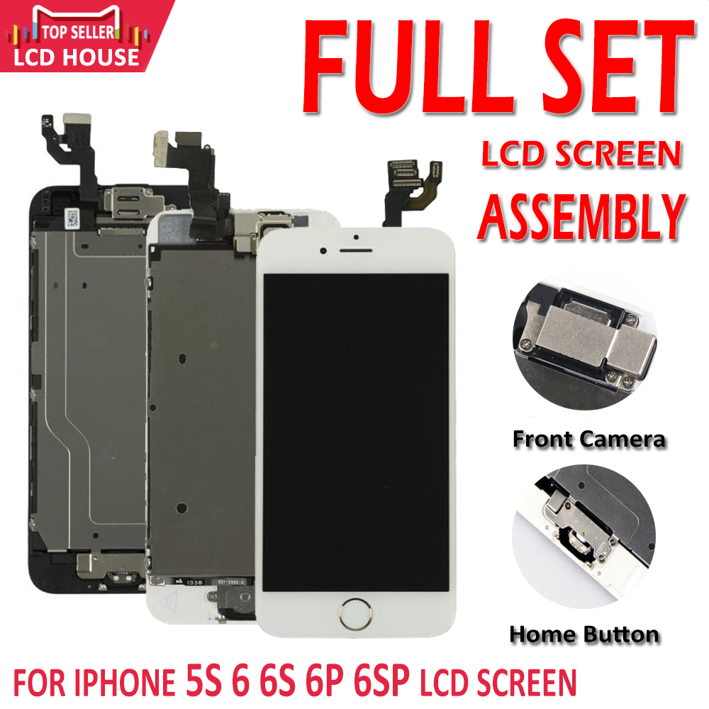 Full Set Complete LCD For IPhone 5S 6 6Plus 6S 6S Plus LCD With Home Button Front Camera Complete Assembly Display Touch Screen