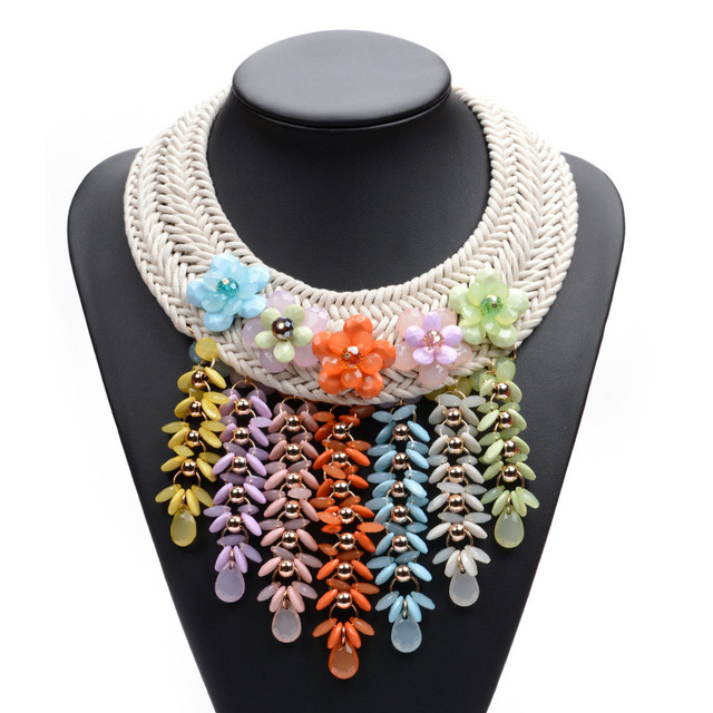 34fffea843e8 2016 moda Boho collar tejido A Mano Collares de cadena de metal de La  Vendimia gargantilla