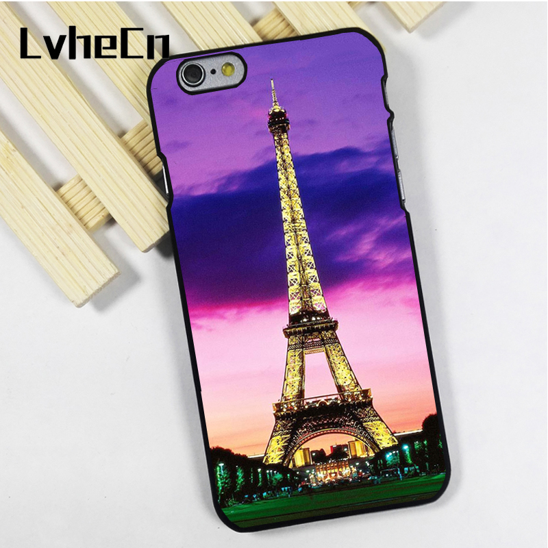 LvheCn phone case cover fit for iPhone 4 4s 5 5s 5c SE 6 6s 7 8 plus X ipod touch 4 5 6 Fashion Eiffel Tower Night View