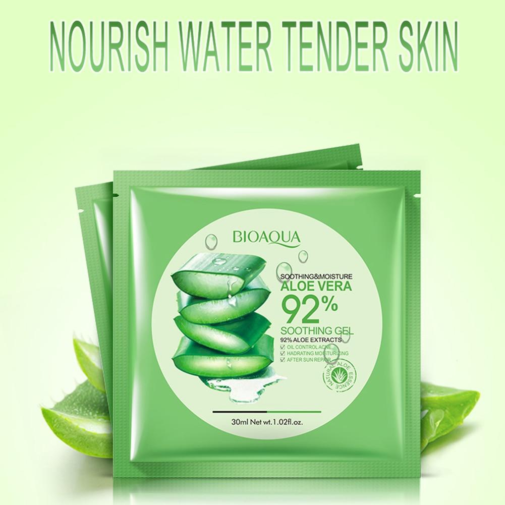 1Pcs BIOAQUA Natural Aloe Vera Gel Face Mask Skin Care Moisturizing Oil Control Wrapped Mask Shrink Pores Facial Mask for women