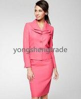 ชุดของผู้หญิงที่กำหนดเองทำชุดสามปุ่มชุดกระโปรงสีชมพูสูทชั้นคอไม่มีกระเป๋าดินสอSilhouetteกระโ...