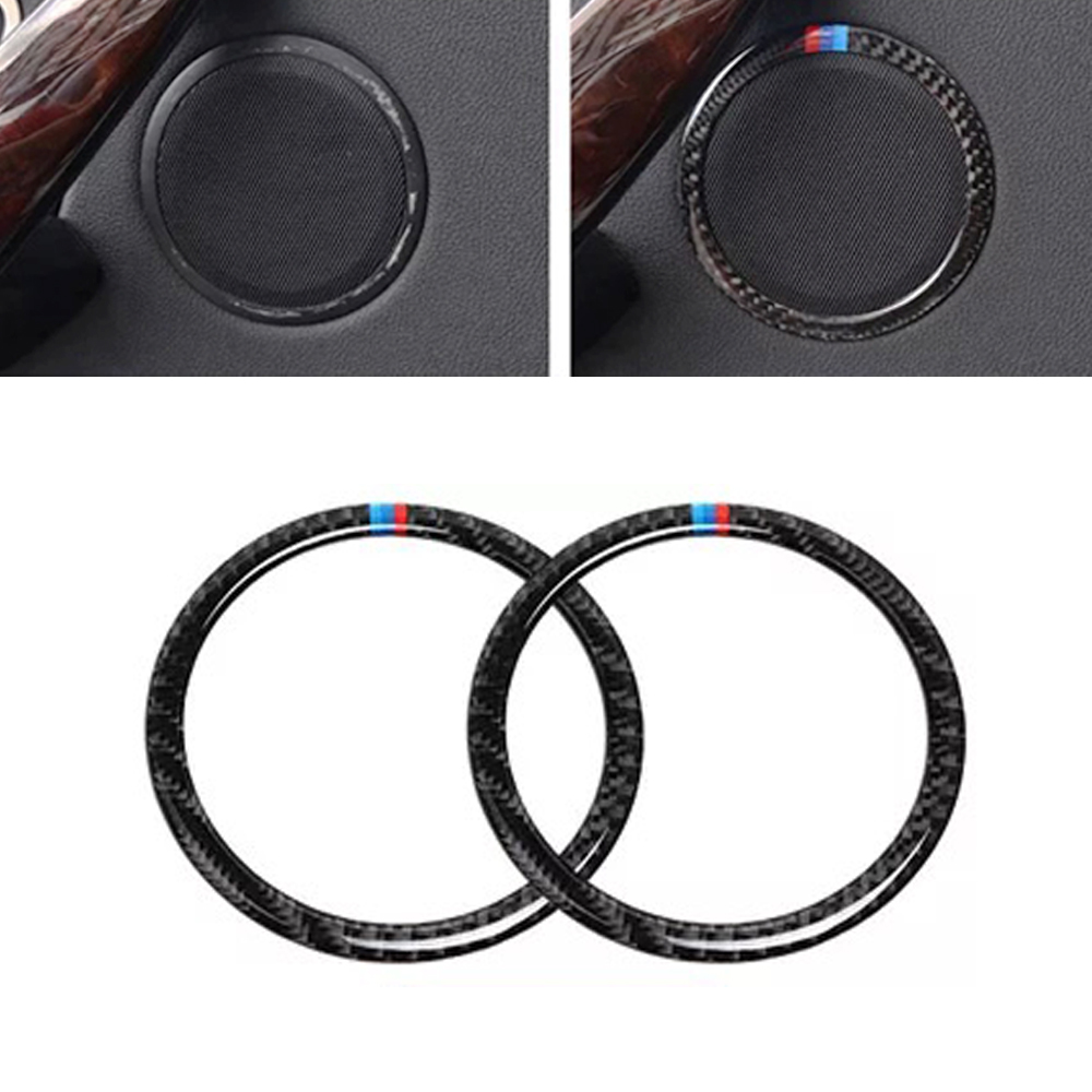 JEAZEA Car Styling 2PCS <font><b>Carbon</b></font> <font><b>Fiber</b></font> Speaker Loud Cover Sticker Trim Decal Fit for <font><b>BMW</b></font> 3 Series <font><b>E90</b></font> X1 E84 2012 image