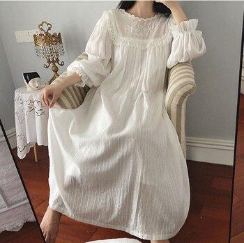 Женское платье в стиле Лолиты; Ночная рубашка принцессы в винтажном дворцовом стиле с кружевной вышивкой; Ночная рубашка в викторианском стиле; Одежда для сна 3